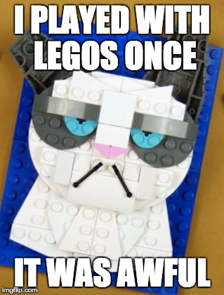 Grumpy Cat and Legos #LegoWeek | I PLAYED WITH LEGOS ONCE IT WAS AWFUL | image tagged in lego week,grumpy cat | made w/ Imgflip meme maker