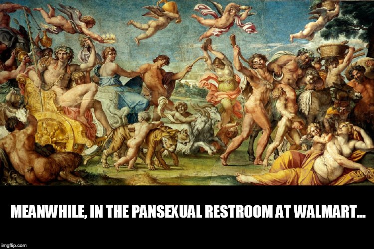 Who knew? | MEANWHILE, IN THE PANSEXUAL RESTROOM AT WALMART... | image tagged in people of walmart | made w/ Imgflip meme maker
