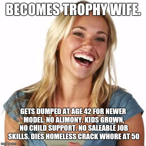BECOMES TROPHY WIFE. GETS DUMPED AT AGE 42 FOR NEWER MODEL. NO ALIMONY. KIDS GROWN, NO CHILD SUPPORT. NO SALEABLE JOB SKILLS. DIES HOMELESS  | made w/ Imgflip meme maker
