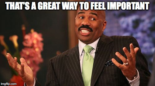 Steve Harvey Meme | THAT'S A GREAT WAY TO FEEL IMPORTANT | image tagged in memes,steve harvey | made w/ Imgflip meme maker