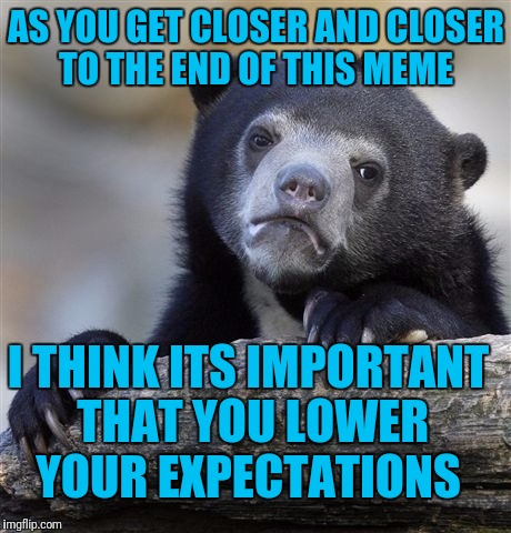 Confession Bear Meme | AS YOU GET CLOSER AND CLOSER TO THE END OF THIS MEME I THINK ITS IMPORTANT THAT YOU LOWER YOUR EXPECTATIONS | image tagged in memes,confession bear | made w/ Imgflip meme maker