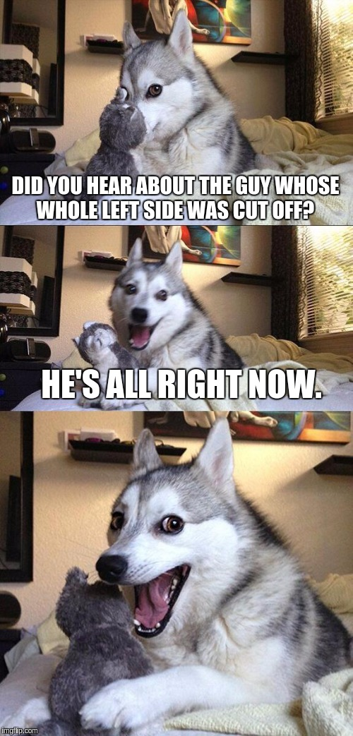 Bad Pun Dog Meme | DID YOU HEAR ABOUT THE GUY WHOSE WHOLE LEFT SIDE WAS CUT OFF? HE'S ALL RIGHT NOW. | image tagged in memes,bad pun dog | made w/ Imgflip meme maker