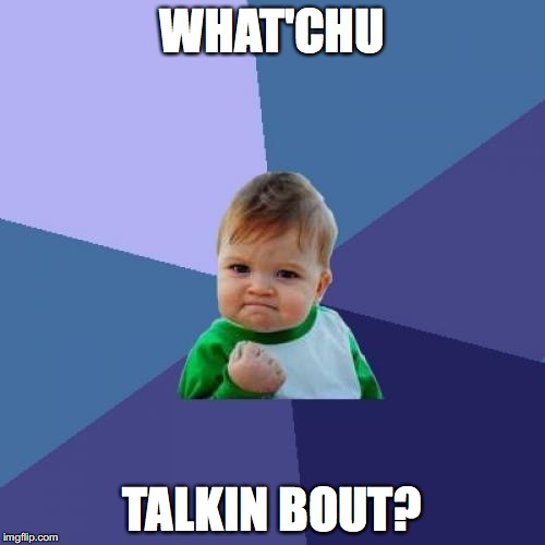 Success Kid Meme | WHAT'CHU TALKIN BOUT? | image tagged in memes,success kid | made w/ Imgflip meme maker