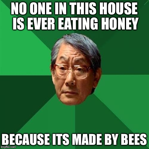 Grade A Maple Syrup is Made by Trees | NO ONE IN THIS HOUSE IS EVER EATING HONEY BECAUSE ITS MADE BY BEES | image tagged in memes,high expectations asian father | made w/ Imgflip meme maker