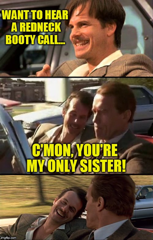 Bill Paxton Scummy Jokes  | WANT TO HEAR A REDNECK BOOTY CALL... C'MON, YOU'RE MY ONLY SISTER! | image tagged in bill paxton scummy jokes | made w/ Imgflip meme maker