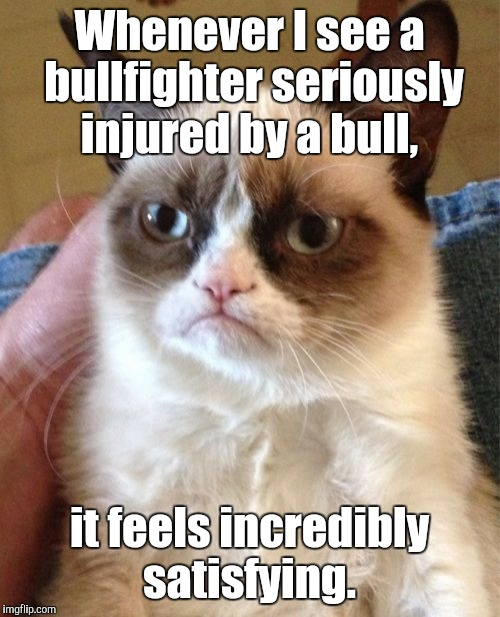 Sometimes karma is sweet when it comes to animal abuse and exploitation.  | Whenever I see a bullfighter seriously injured by a bull, it feels incredibly satisfying. | image tagged in grumpy cat,animals,funny meme | made w/ Imgflip meme maker