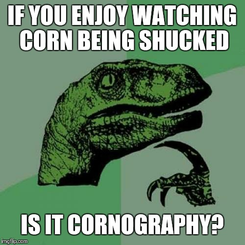 Philosoraptor Meme | IF YOU ENJOY WATCHING CORN BEING SHUCKED IS IT CORNOGRAPHY? | image tagged in memes,philosoraptor | made w/ Imgflip meme maker