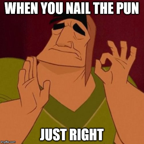 Just right | WHEN YOU NAIL THE PUN JUST RIGHT | image tagged in just right | made w/ Imgflip meme maker