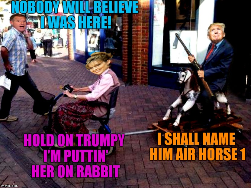 Watch out for that curb...! | NOBODY WILL BELIEVE I WAS HERE! I SHALL NAME HIM AIR HORSE 1 HOLD ON TRUMPY I'M PUTTIN' HER ON RABBIT | image tagged in donald trump,sarah palin,brian williams,air horse 1 | made w/ Imgflip meme maker