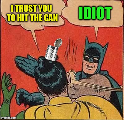 Batman Slapping Robin Meme | I TRUST YOU TO HIT THE CAN IDIOT | image tagged in memes,batman slapping robin | made w/ Imgflip meme maker