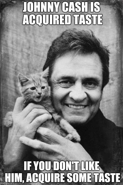 You have to like the guy.... | JOHNNY CASH IS ACQUIRED TASTE IF YOU DON'T LIKE HIM, ACQUIRE SOME TASTE | image tagged in johnny cash cat | made w/ Imgflip meme maker