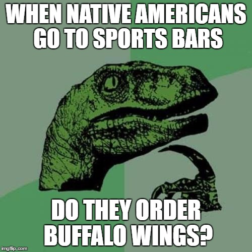 Philosoraptor Meme | WHEN NATIVE AMERICANS GO TO SPORTS BARS DO THEY ORDER BUFFALO WINGS? | image tagged in memes,philosoraptor | made w/ Imgflip meme maker
