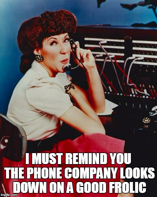 I MUST REMIND YOU THE PHONE COMPANY LOOKS DOWN ON A GOOD FROLIC | made w/ Imgflip meme maker