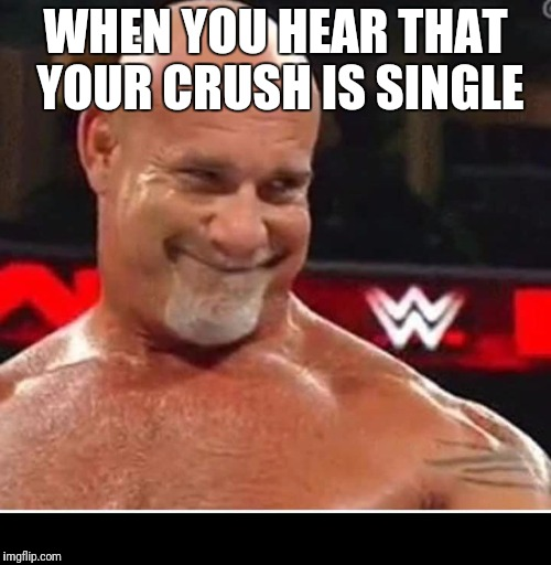 WHEN YOU HEAR THAT YOUR CRUSH IS SINGLE | image tagged in goldberg creepy smile | made w/ Imgflip meme maker