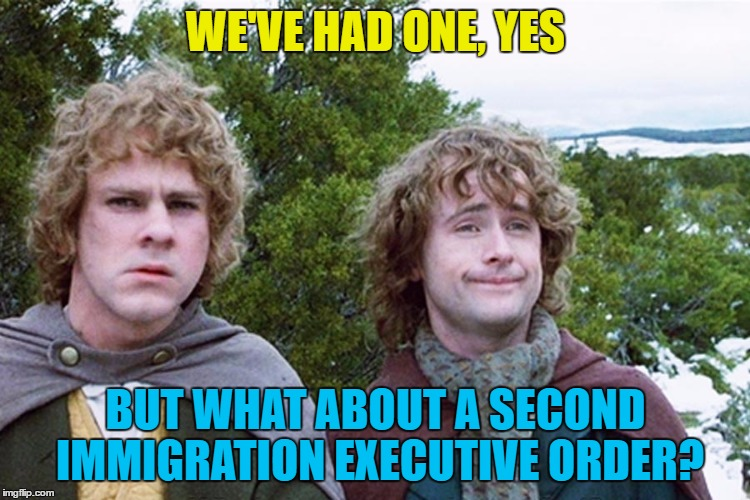 Little bit of politics... :) | WE'VE HAD ONE, YES BUT WHAT ABOUT A SECOND IMMIGRATION EXECUTIVE ORDER? | image tagged in hobbits,memes,immigration,trump,executive orders,politics | made w/ Imgflip meme maker