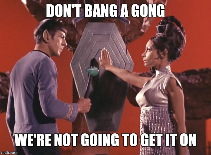 Not that hot on vulcan | DON'T BANG A GONG WE'RE NOT GOING TO GET IT ON | image tagged in spock t'pring attachment unavailable | made w/ Imgflip meme maker