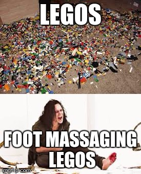 stepping on LEGOs | LEGOS FOOT MASSAGING LEGOS | image tagged in legos on floor,first world metal problems legos,meme,funny | made w/ Imgflip meme maker