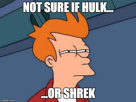 Futurama Fry Meme | NOT SURE IF HULK... ...OR SHREK | image tagged in memes,futurama fry | made w/ Imgflip meme maker
