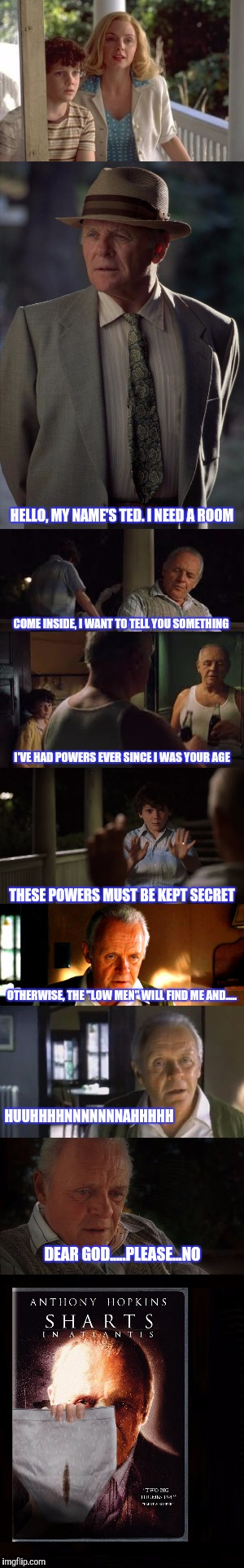 GIFTFORSOCRATES | HELLO, MY NAME'S TED. I NEED A ROOM COME INSIDE, I WANT TO TELL YOU SOMETHING I'VE HAD POWERS EVER SINCE I WAS YOUR AGE THESE POWERS MUST BE | image tagged in stephen king,funny | made w/ Imgflip meme maker