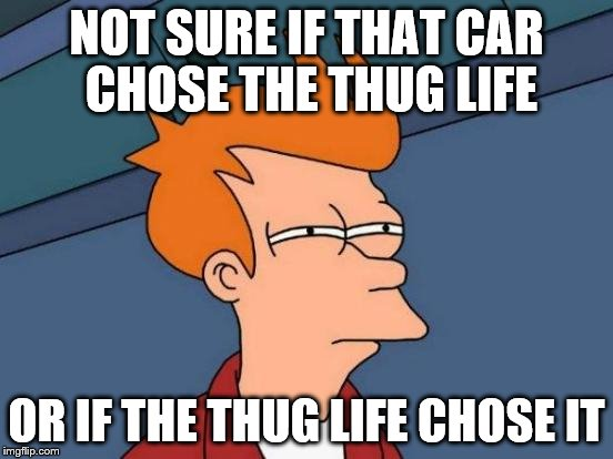 Futurama Fry Meme | NOT SURE IF THAT CAR CHOSE THE THUG LIFE OR IF THE THUG LIFE CHOSE IT | image tagged in memes,futurama fry | made w/ Imgflip meme maker
