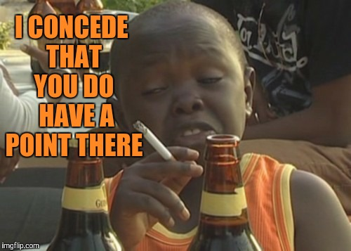 Smoking kid,,, | I CONCEDE THAT YOU DO  HAVE A POINT THERE | image tagged in smoking kid | made w/ Imgflip meme maker