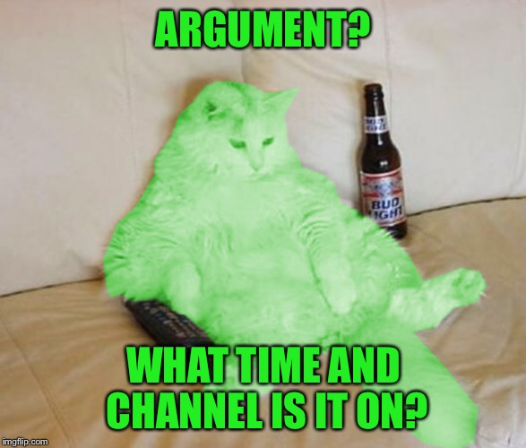 RayCat Chillin' | ARGUMENT? WHAT TIME AND CHANNEL IS IT ON? | image tagged in raycat chillin' | made w/ Imgflip meme maker