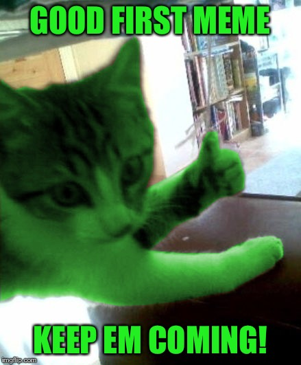 thumbs up RayCat | GOOD FIRST MEME KEEP EM COMING! | image tagged in thumbs up raycat | made w/ Imgflip meme maker