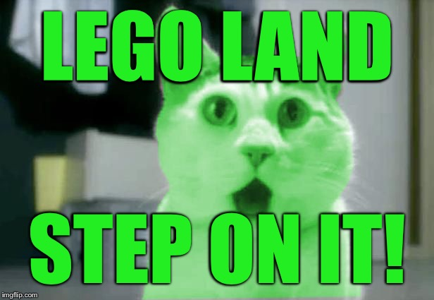OMG RayCat | LEGO LAND STEP ON IT! | image tagged in omg raycat | made w/ Imgflip meme maker