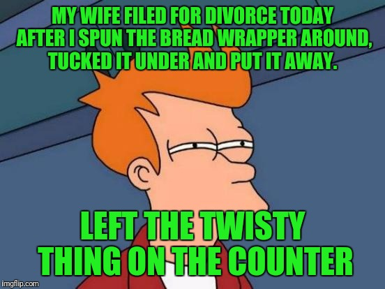Futurama Fry Meme | MY WIFE FILED FOR DIVORCE TODAY AFTER I SPUN THE BREAD WRAPPER AROUND, TUCKED IT UNDER AND PUT IT AWAY. LEFT THE TWISTY THING ON THE COUNTER | image tagged in memes,futurama fry | made w/ Imgflip meme maker