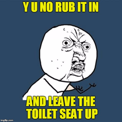 Y U No Meme | Y U NO RUB IT IN AND LEAVE THE TOILET SEAT UP | image tagged in memes,y u no | made w/ Imgflip meme maker