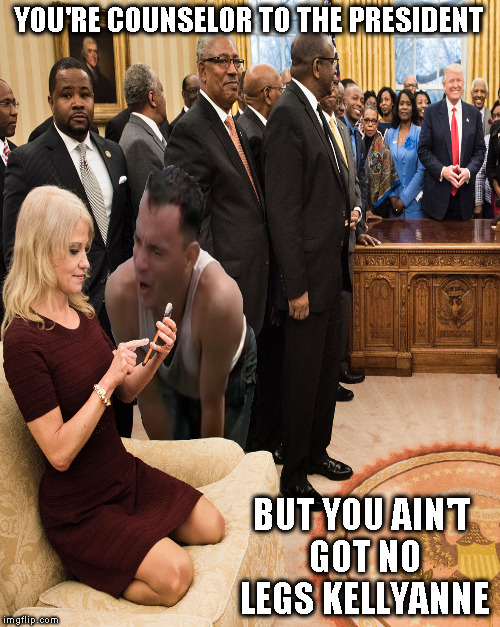 I'm surprised Hollywood isn't already making a Forest Gump sequel  | YOU'RE COUNSELOR TO THE PRESIDENT BUT YOU AIN'T GOT NO LEGS KELLYANNE | image tagged in memes,kellyanne conway,donald trump approves,forest gump,fake news | made w/ Imgflip meme maker