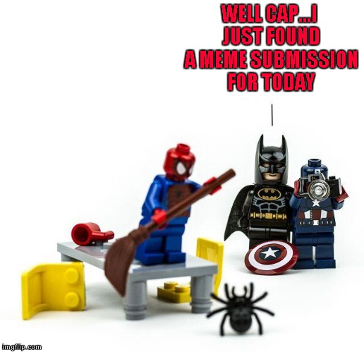 Batman was afraid of bats too!!!  Lego Week ... A JuicyDeath1025 Event | WELL CAP...I JUST FOUND A MEME SUBMISSION FOR TODAY | image tagged in lego spiderman scared,memes,legos,lego week,funny,spiderman | made w/ Imgflip meme maker