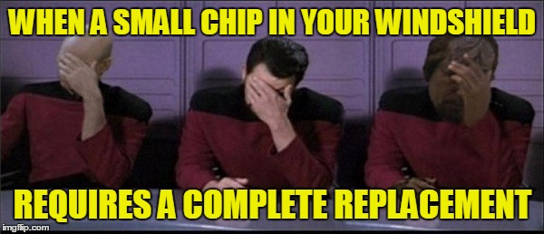 Stupid Rocks | WHEN A SMALL CHIP IN YOUR WINDSHIELD REQUIRES A COMPLETE REPLACEMENT | image tagged in flying debris,windshield,picard riker worf triple facepalm | made w/ Imgflip meme maker