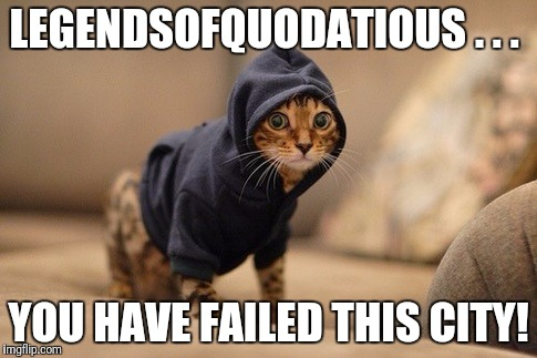 Arrow Cat | LEGENDSOFQUODATIOUS . . . YOU HAVE FAILED THIS CITY! | image tagged in memes,hoody cat,arrow | made w/ Imgflip meme maker
