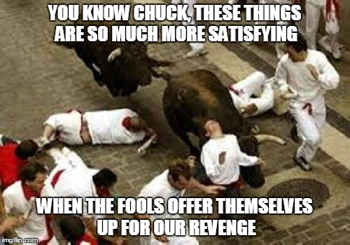 YOU KNOW CHUCK, THESE THINGS ARE SO MUCH MORE SATISFYING WHEN THE FOOLS OFFER THEMSELVES UP FOR OUR REVENGE | made w/ Imgflip meme maker