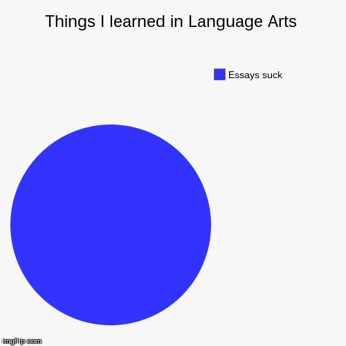 ELA sucks | Things I learned in Language Arts | Essays suck | image tagged in funny,pie charts,essays | made w/ Imgflip pie chart maker