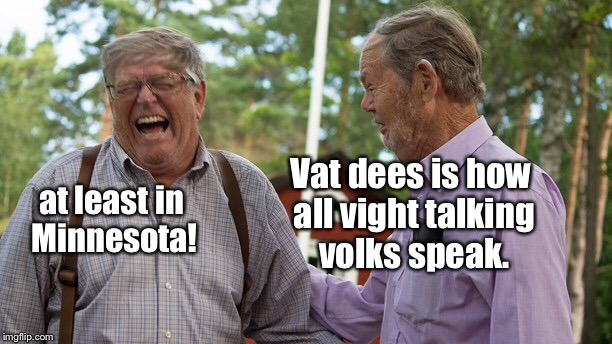Vat dees is how all vight talking volks speak. at least in Minnesota! | made w/ Imgflip meme maker