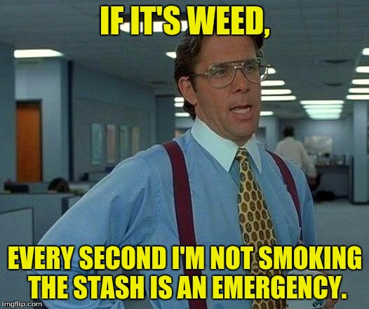 That Would Be Great Meme | IF IT'S WEED, EVERY SECOND I'M NOT SMOKING THE STASH IS AN EMERGENCY. | image tagged in memes,that would be great | made w/ Imgflip meme maker