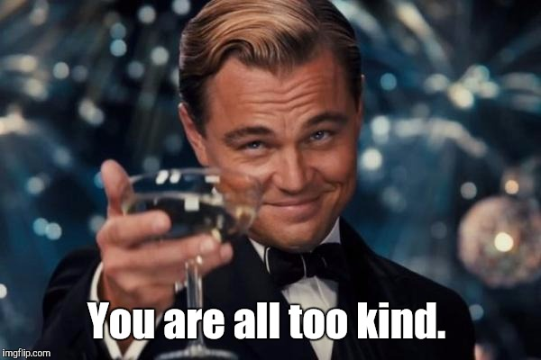Leonardo Dicaprio Cheers Meme | You are all too kind. | image tagged in memes,leonardo dicaprio cheers | made w/ Imgflip meme maker