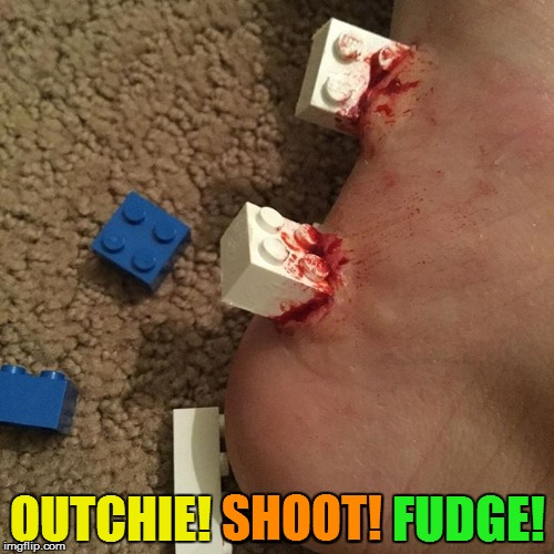 Honey, be careful with the Leg....Lego Week - A JuicyDeath1025 Event | OUTCHIE! SHOOT! FUDGE! SHOOT! FUDGE! | image tagged in memes,headfoot,lego,lego week,juicydeath1025 | made w/ Imgflip meme maker