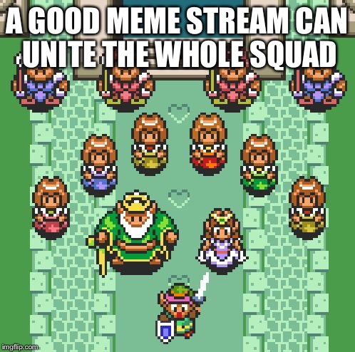 Links crew | A GOOD MEME STREAM CAN UNITE THE WHOLE SQUAD | image tagged in links crew | made w/ Imgflip meme maker