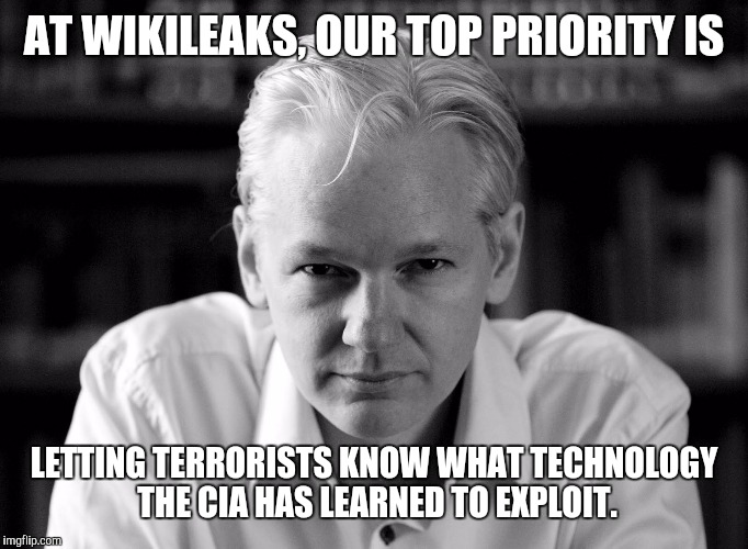 Julian Assange | AT WIKILEAKS, OUR TOP PRIORITY IS LETTING TERRORISTS KNOW WHAT TECHNOLOGY THE CIA HAS LEARNED TO EXPLOIT. | image tagged in julian assange,memes,scumbagrapist,anti american | made w/ Imgflip meme maker
