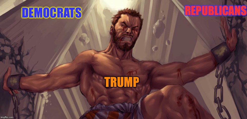 Samson | DEMOCRATS TRUMP REPUBLICANS | image tagged in samson | made w/ Imgflip meme maker