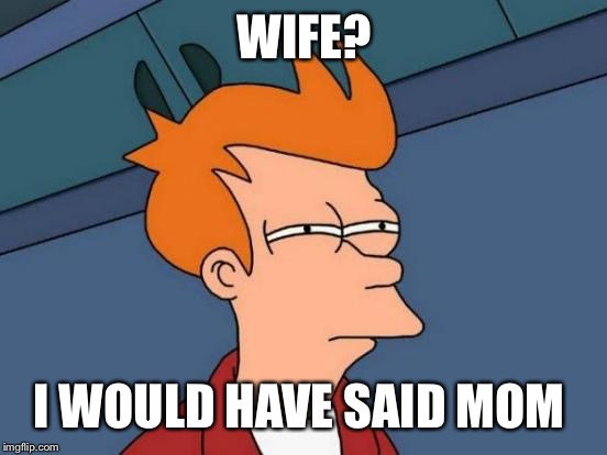 Futurama Fry Meme | WIFE? I WOULD HAVE SAID MOM | image tagged in memes,futurama fry | made w/ Imgflip meme maker