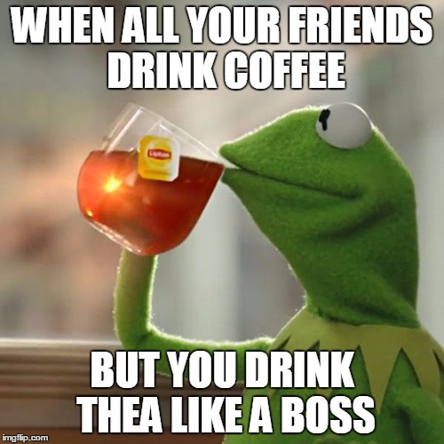 But Thats None Of My Business Meme | WHEN ALL YOUR FRIENDS DRINK COFFEE BUT YOU DRINK THEA LIKE A BOSS | image tagged in memes,but thats none of my business,kermit the frog | made w/ Imgflip meme maker