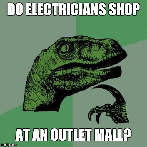 Philosoraptor Meme | DO ELECTRICIANS SHOP AT AN OUTLET MALL? | image tagged in memes,philosoraptor | made w/ Imgflip meme maker