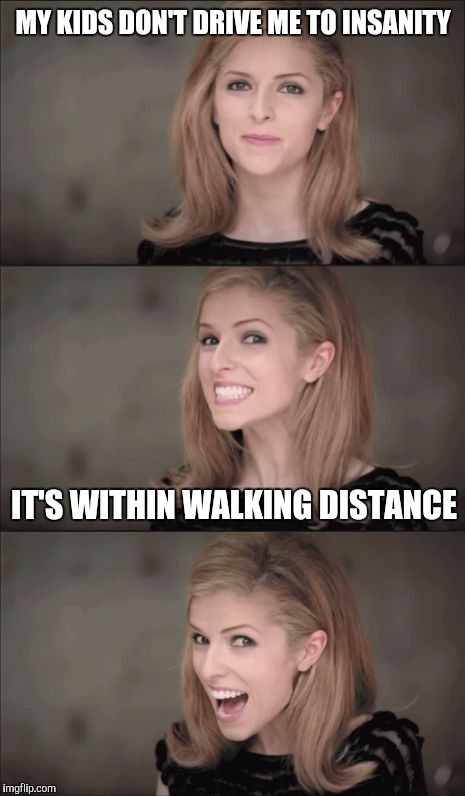 Bad Pun Anna Kendrick Meme | MY KIDS DON'T DRIVE ME TO INSANITY IT'S WITHIN WALKING DISTANCE | image tagged in memes,bad pun anna kendrick | made w/ Imgflip meme maker