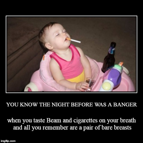 oh my gosh - did I really do that? | YOU KNOW THE NIGHT BEFORE WAS A BANGER | when you taste Beam and cigarettes on your breath and all you remember are a pair of bare breasts | image tagged in funny,demotivationals,memes,party,alcohol,baby | made w/ Imgflip demotivational maker