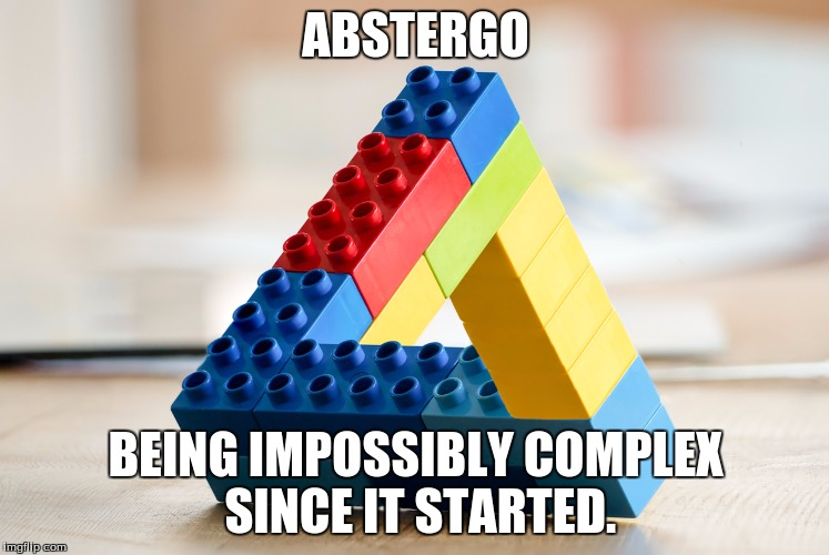 ABSTERGO BEING IMPOSSIBLY COMPLEX SINCE IT STARTED. | image tagged in impossible legos | made w/ Imgflip meme maker