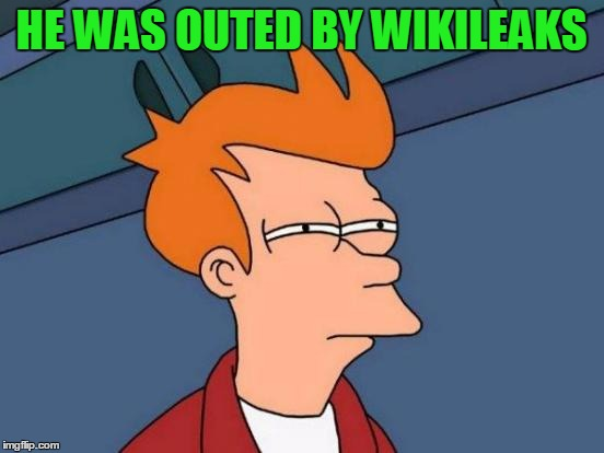 Futurama Fry Meme | HE WAS OUTED BY WIKILEAKS | image tagged in memes,futurama fry | made w/ Imgflip meme maker